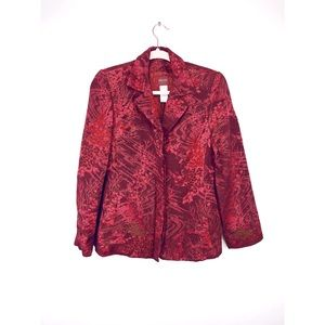 VTG Kenzo 1990s Red Metallic Brocade Blazer Jacket